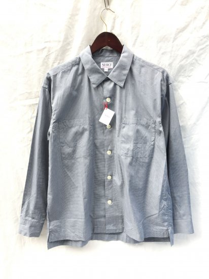 SERO Cotton Check Open Collar Shirts Blue Check