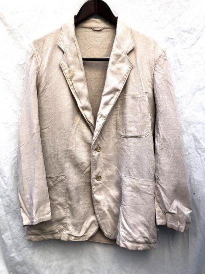 60's Vintage British Made Linen × Terylene Tropical Jacket Natural