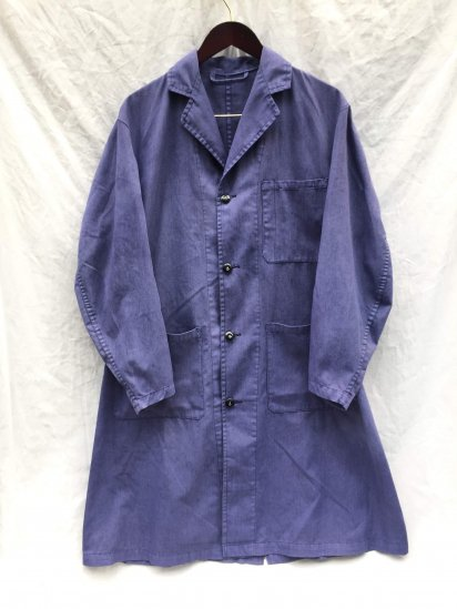 70-80's Vintage British Army Overall Coat Over Dyed Blue
