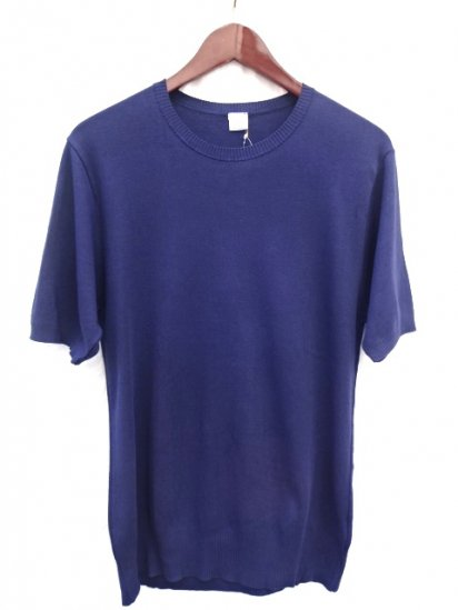 Gicipi Cotton Knit Short Sleeve MADE IN ITALY Navy