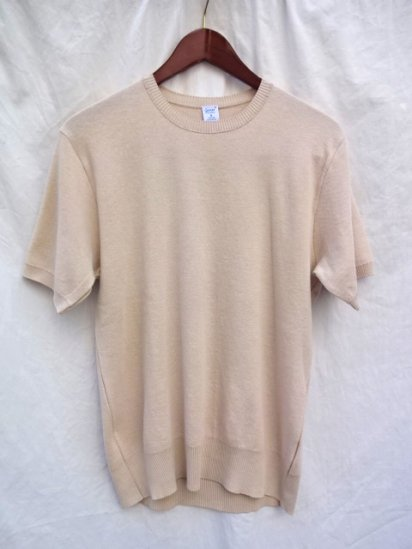 Gicipi Cotton Knit Short Sleeve MADE IN ITALY Beige