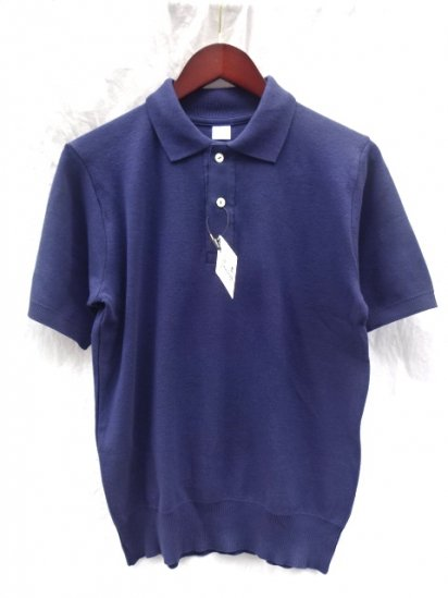 Gicipi Cotton Knit Short Sleeve Polo MADE IN ITALY Navy