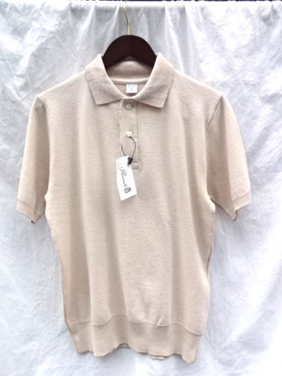 Gicipi Cotton Knit Short Sleeve Polo MADE IN ITALY Beige