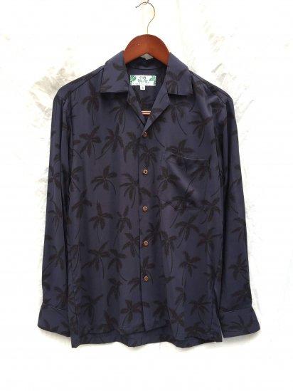 TWO PALMS Long Sleeve Hawaiian Shirts Made in Hawaii Navy x Black