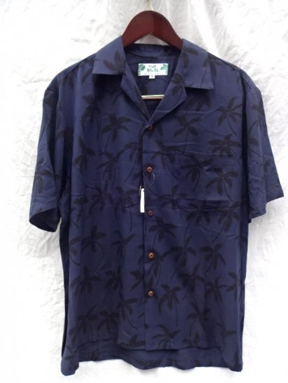 TWO PALMS Short Sleeve Hawaiian Shirts Made in Hawaii Navy x Black