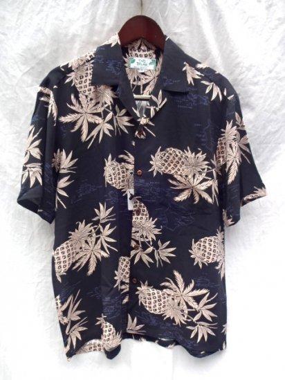 TWO PALMS Short Sleeve Hawaiian Shirts Made in Hawaii Black x Pink