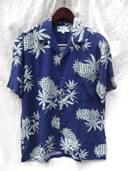 TWO PALMS Short Sleeve Hawaiian Shirts Made in Hawaii Blue x Sax