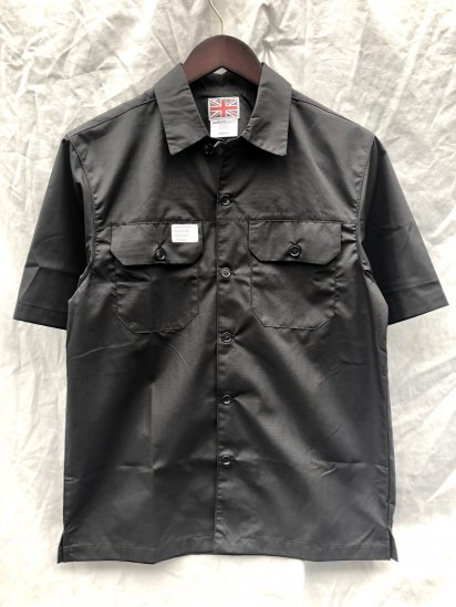 Uniform World Open Collar Short Sleeve Work Shirt Black