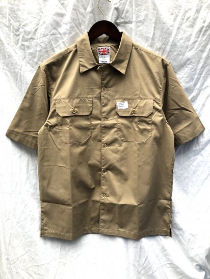 Uniform World Open Collar Short Sleeve Work Shirt Khaki