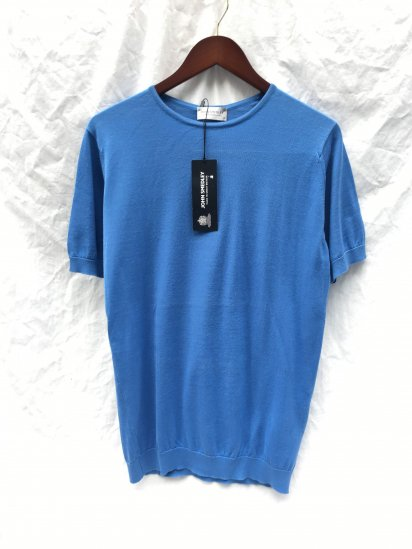 "John Smedley Seaisland Cotton Knit ""BELDEN"" MENS T-SHIRT Made in England Chambray Blue"