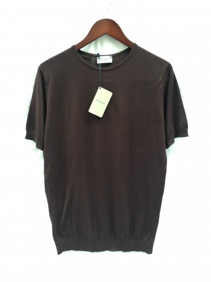 "John Smedley Seaisland Cotton Knit ""BELDEN"" MENS T-SHIRT Made in England Dark Leather"