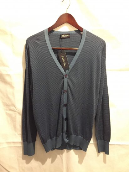 John Smedley Sea Island Cotton Knit RUDYARD STRIPED CARDIGAN<BR>SALE! 24,800 → 14,000 + Tax