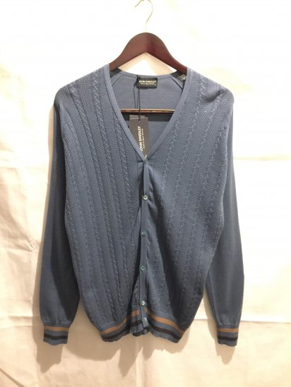 John Smedley Sea Island Cotton Knit ASHWIN CABLE FRONT CARDIGAN BLU<BR>SALE! 24,800 → 14,000 + Tax
