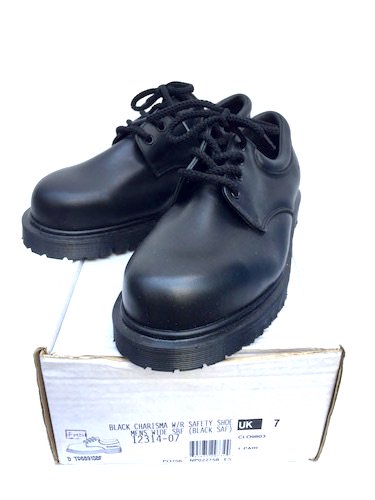 90's ~ 00's Dead Stock Dr.Martens 4eye Plain Toe for ROYAL MAIL Made in ENGLAND Black / 2