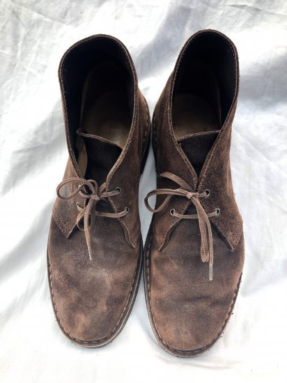 """90's Vintage Clarks Made in England """"Desert boots"""" Waxed Suede Brown"""