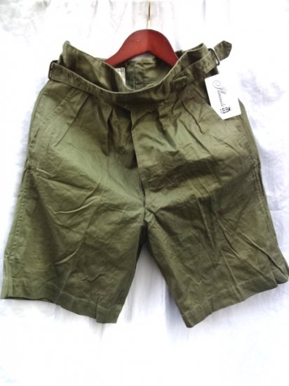 60's Vintage Dead Stock British Army 1950 Pattern Jungle Drill Shorts Olive / 1