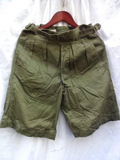 60's Vintage Dead Stock British Army 1950 Pattern Jungle Drill Shorts Olive / 2