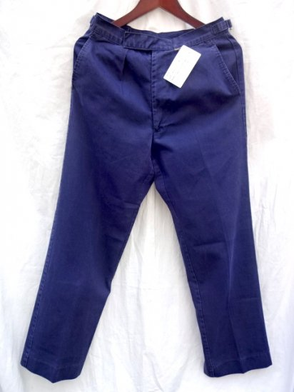 70's ~ 80's Vintage Royal Navy Working Dress Trousers Faded Navy