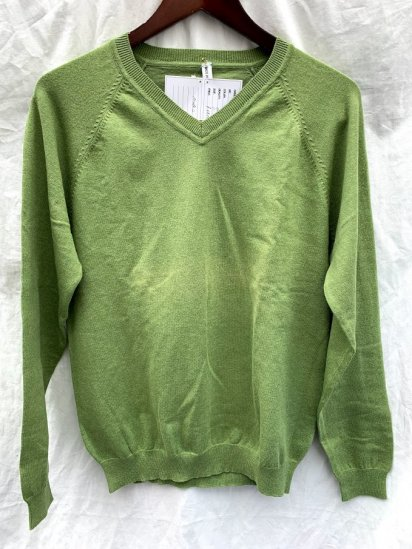 Made In England Cotton Knit V Neck Sweater Green<BR>SALE !! 6,800 + Tax → 3,800 + Tax