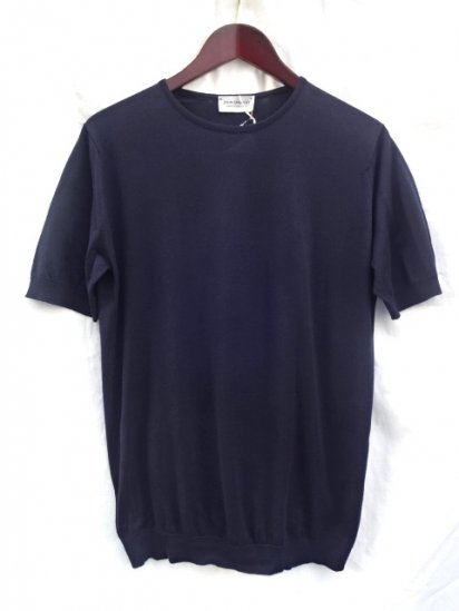 John Smedley Sea Island Cotton Knit BELDEN Made in England Navy