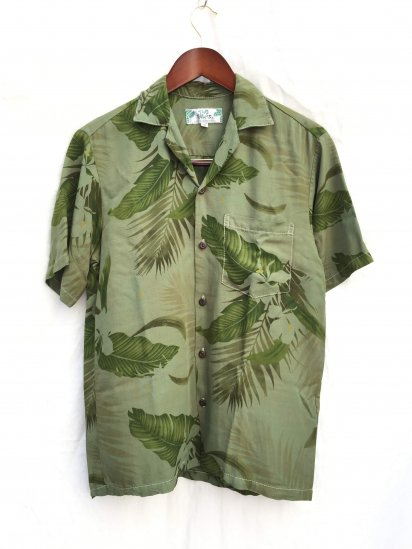 TWO PALMS Short Sleeve Hawaiian Shirts Made in Hawaii Ginger Cream Overdeyd Green