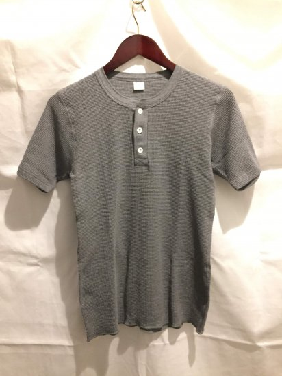 Gicipi Cotton Heavy Waffle Henley Neck S/S Made in Italy Gray<BR>SALE!! 5,800 + Tax → 3,400 + Tax