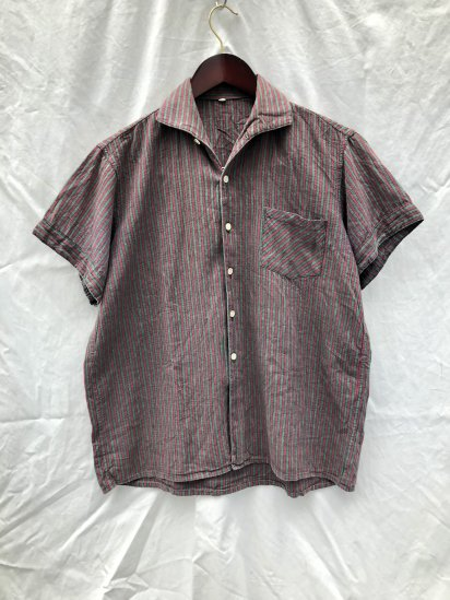 60's ~ 70's Vintage Leisure Shirts Green x Burgundy Stripe / 2