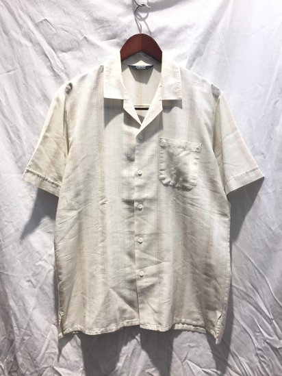 80's ~ 90's Vintage Dead Stock St Michael Open Collar Shirts Made in THE U.K Beige Stripe / 3