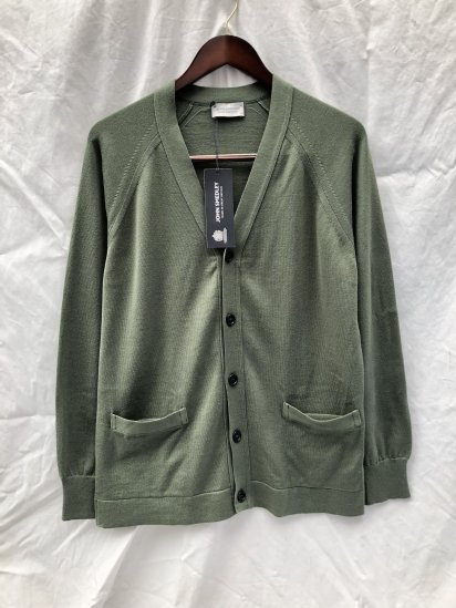 John Smedley Sea Island Cotton Knit S4277 CARDIGAN Made in England Sepal Green