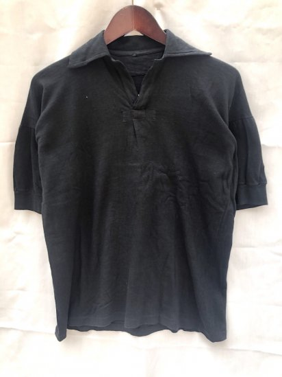 50's Vintage Dead Stock British Military PT (Physical Training) Tops Over Dyed in Black / 2