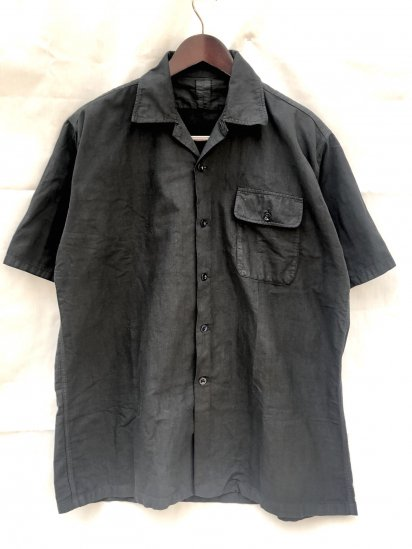 50's Vintage Royal Navy Open Collar Shirts Over Dyed in BLACK