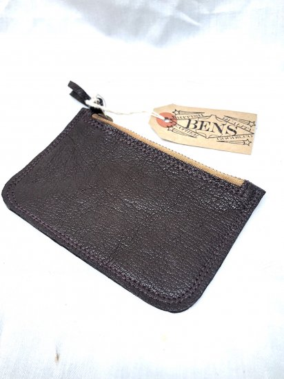 BENS LEATHER GOODS.CO Zip Top Medium Pouch with USN G-1 Goat SkinLeather & Vintage LightningZip / 1