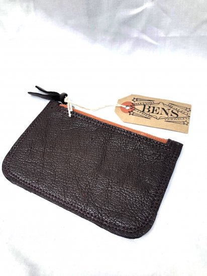 BENS LEATHER GOODS.CO Zip Top Medium Pouch with USN G-1 Goat SkinLeather & Vintage LightningZip / 3