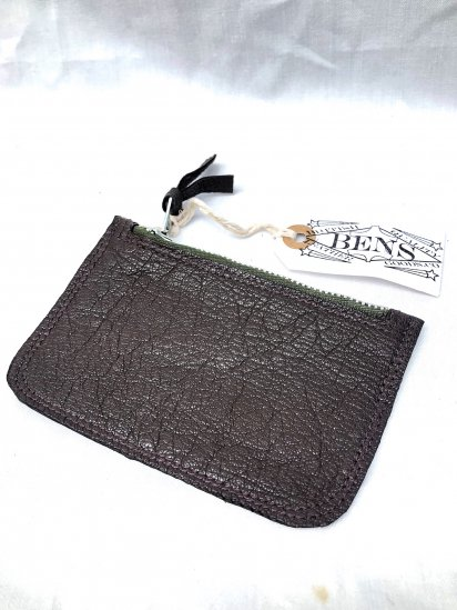 BENS LEATHER GOODS.CO Zip Top Medium Pouch with USN G-1 Goat Skin Leather & Vintage Conmer Zip / 4
