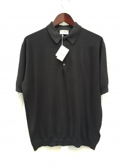 John Smedley Sea Island Cotton Knit ROTH PIQUE SHIRTS Made in England Black