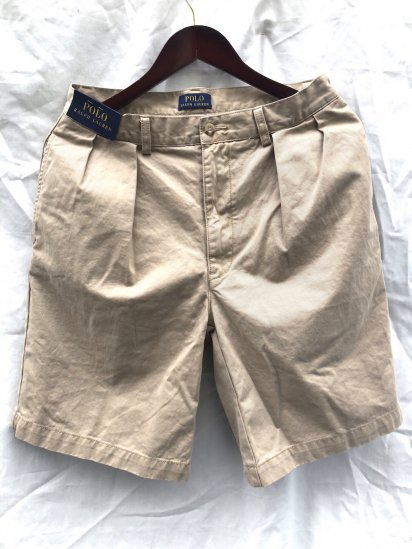 Ralph Lauren 2 Tuck Pleated Front Chino Shorts Khaki