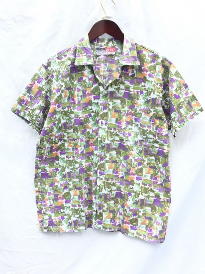 60's Vintage ALIVE Leisure Shirts Made in England Good Condition White x Purple x Green / 8