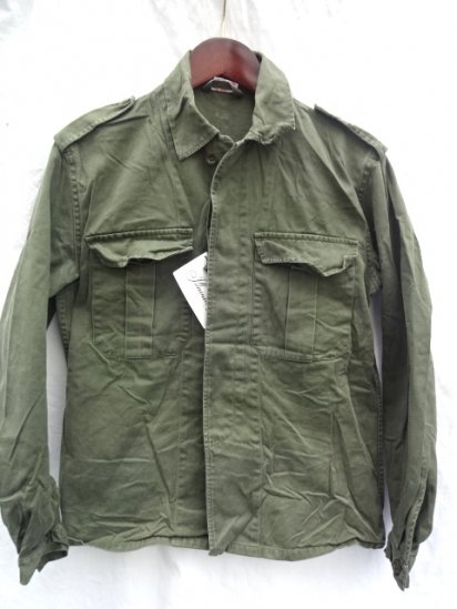 80's Vintage Belgium Army Field Shirts Jacket Olive 36