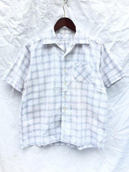 50's ~ 60's Vintage Leisure Shirts White x Grey / 11