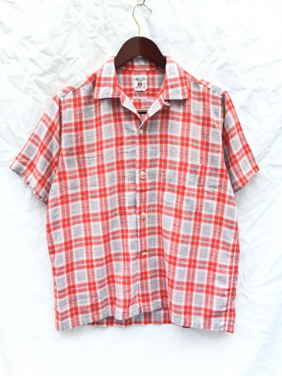60's ~ 70's Vintage Leisure Shirts Red x Grey / 12