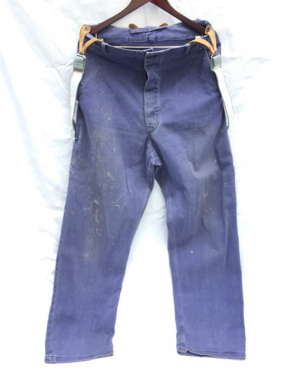 50's Vintage British Work Trousers with Dead Stock RAF Braces Navy