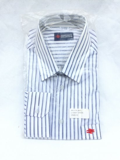 90's Dead Stock British Railway Shirts White x Navy Stripe / 2