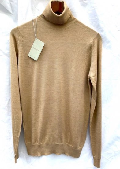 John Smedley Cashmere x Silk Knit HOWGATE PULLOVER ROLL NECK Made in England Camel