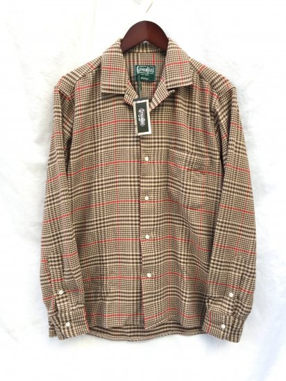 Gitman Vintage Made in USA Camp Collar Shirts / Beige Houndtooth