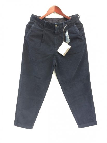 RICCARDO METHA Narrow Corduroy 1Tac Carrott Trousers Made in Italy Navy