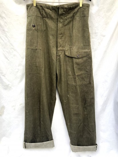 50's Vintage Dead Stock British Army Overall Denim Trousers Olive
