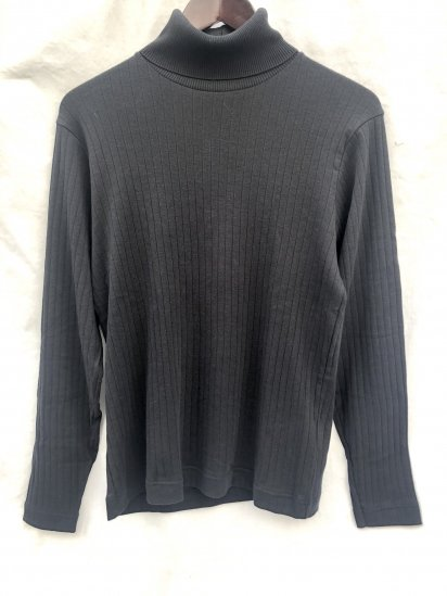 Gicipi made in Italy Cotton x Cashmere Turtle Neck Rib Sweater Black