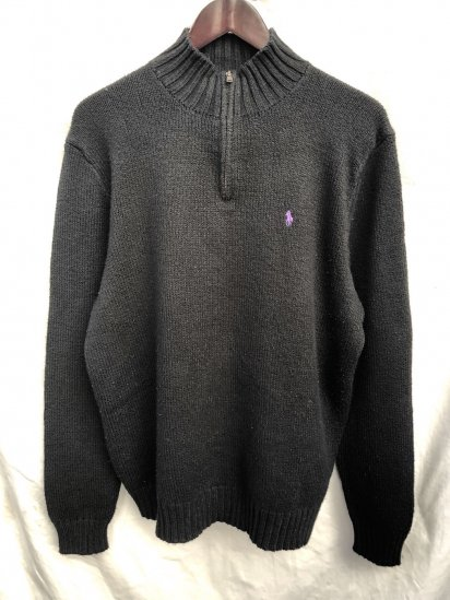 Old Ralph Lauren Half Zip Cotton Sweater Black × Purple / 1