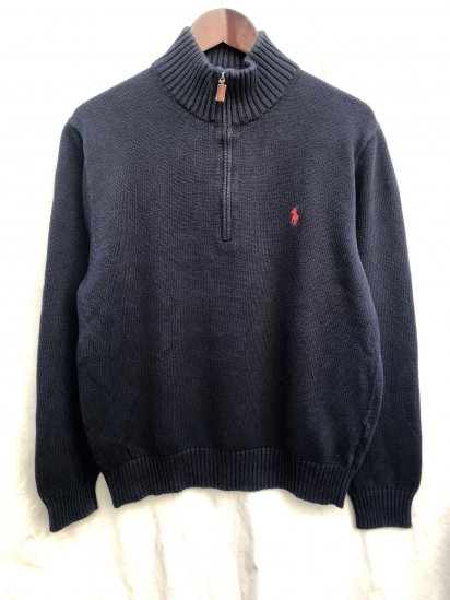 Old Ralph Lauren Half Zip Cotton Sweater Navy × Red / 2