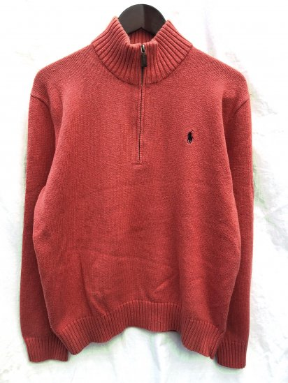 Old Ralph Lauren Half Zip Cotton Sweater Salmon Pink / 3